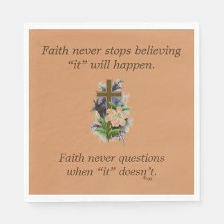 Faith Never Napkins w/Blue Flower Cross