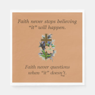 Faith Never Napkins w/Blue Flower Cross Disposable Napkins