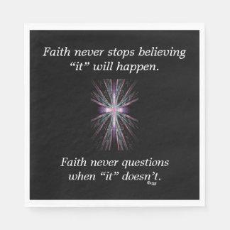 Faith Never Napkins w/Feather Cross