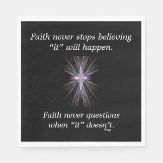Faith Never Napkins w/Feather Cross Paper Napkins