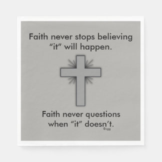 Faith Never Napkins w/Grey Flared Cross Paper Napkin