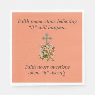Faith Never Napkins w/Pink Flower Cross