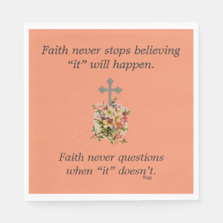 Faith Never Napkins w/Pink Flower Cross Disposable Napkins