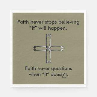 Faith Never Napkins w/Steel Cross