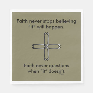Faith Never Napkins w/Steel Cross Disposable Napkin