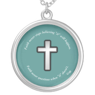 Faith Never Necklace w/Black Outline Cross