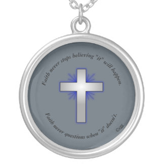 Faith Never Necklace w/Blue Flared Cross