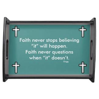 Faith Never Serving Tray w/Black Outline Cross