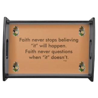 Faith Never Serving Tray w/Blue Flower Cross