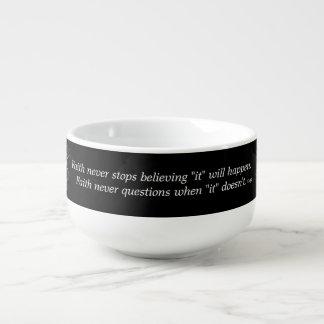 Faith Never Soup Mug w/Feather Cross