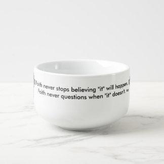 Faith Never Soup Mug w/GreyFlared Cross