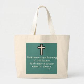 Faith Never Tote w/Black Outline Cross