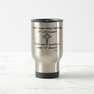 Faith Never Travel Mug w/Blue Flared  Cross