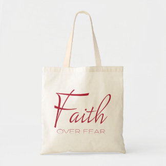 Faith Over Fear Encouragement in Red Tote Bag