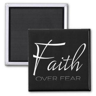 Faith Over Fear Encouragement in White Magnet