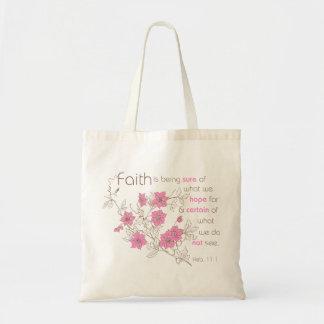 Faith (pink & brown) tote bag