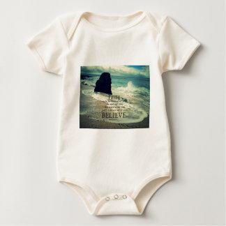 Faith quote beach ocean wave baby bodysuit