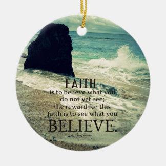 Faith quote beach ocean wave ceramic ornament
