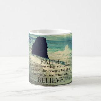 Faith quote beach ocean wave coffee mug
