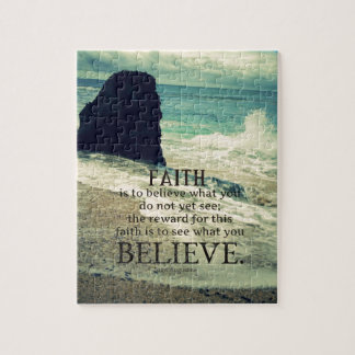Faith quote beach ocean wave jigsaw puzzle
