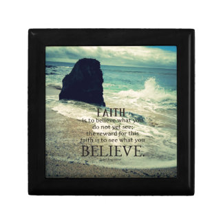 Faith quote beach ocean wave keepsake box