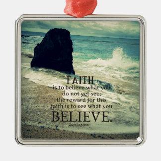 Faith quote beach ocean wave metal ornament