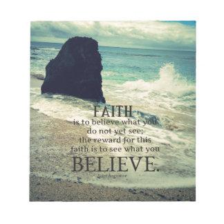 Faith quote beach ocean wave notepad