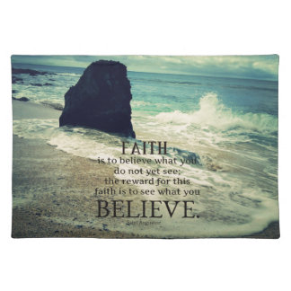 Faith quote beach ocean wave placemat