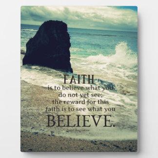 Faith quote beach ocean wave plaque