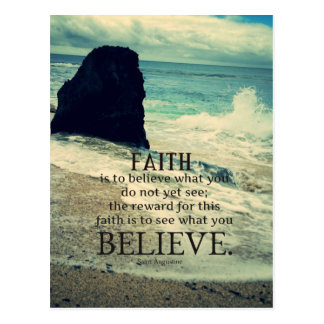 Faith quote beach ocean wave postcard
