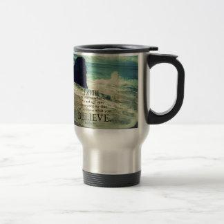 Faith quote beach ocean wave travel mug