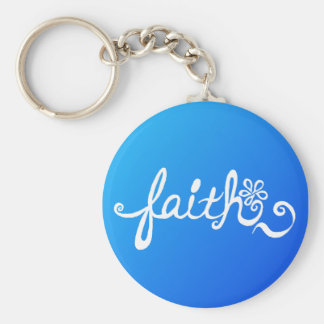 Faith - reverse ocean basic round button keychain