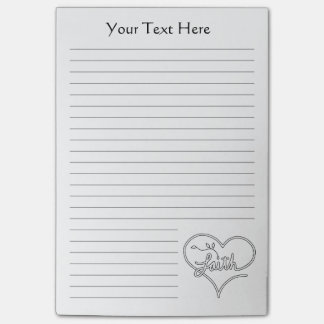 Faith seed heart Christian line art personalizable Post-it Notes