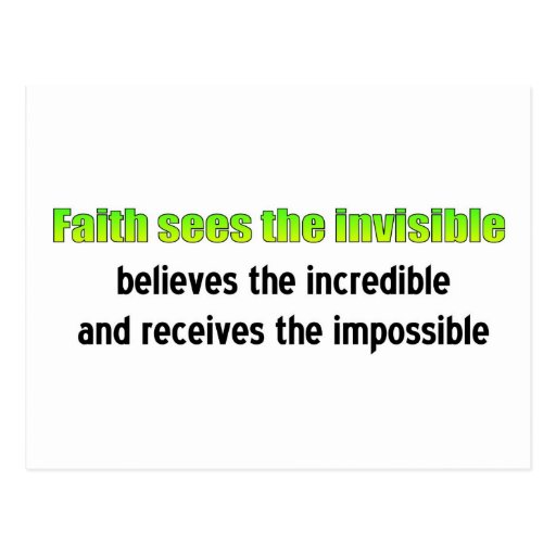 Faith sees the invisible postcards