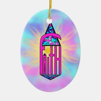 Faith ~ Steeple Ceramic Oval Ornament