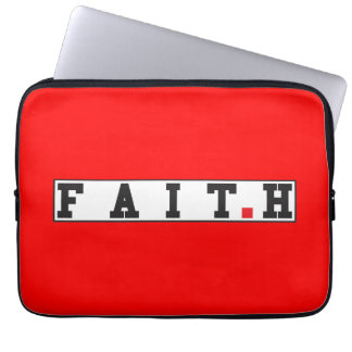 faith text message emotion feeling red dot square laptop computer sleeves