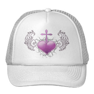 Faithful Crystal purple Heart Trucker Hat