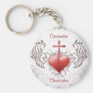Faithful Crystal red Heart Keychains