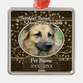Faithful Friend Custom Pet Sympathy Metal Ornament
