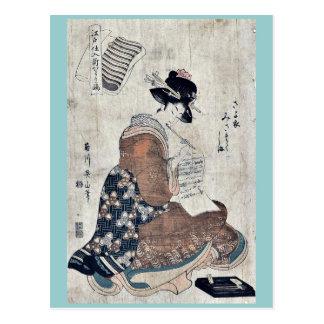 Faithful stripes of the night by Kikukawa,Eizan Postcard