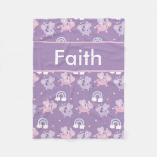 Faith's Personalized Unicorn Blanket