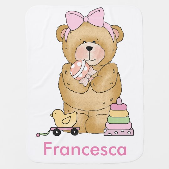 Faith's Teddy Bear Personalized Gifts Baby Blanket