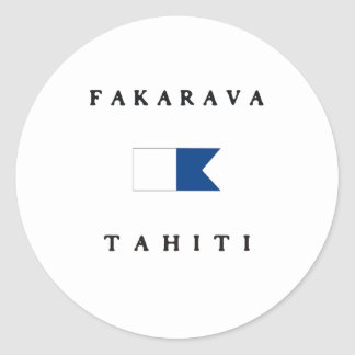 Fakarava Tahiti Alpha Dive Flag Classic Round Sticker