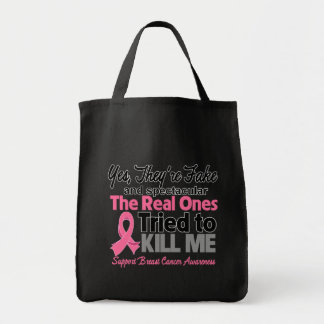 Fake and Spectacular - Breast Cancer Grocery Tote Bag