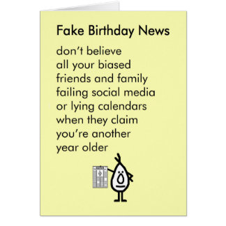 Fake Birthday News - a funny happy birthday poem Card