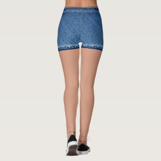Fake denim short blue leggings