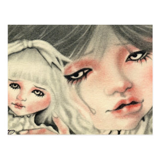 Fake Doll Sad Postcard