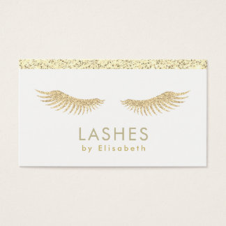 fake gold glitter eyelashes extensions business card