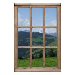 Fake Mountain View - Beautiful Scene from a Window Poster