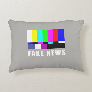 Fake news. Media, politics, television Accent Pillow